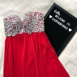 Anny Lee Red Strapless Embroidered Prom Dress